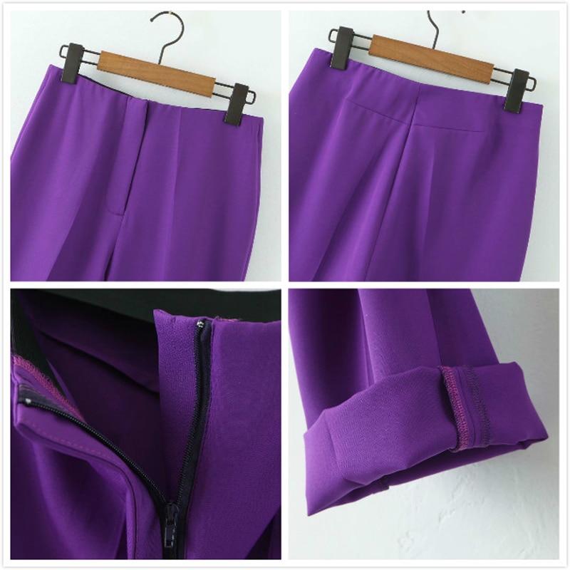 2020 Spring Autumn Fashion Two Pieces Set Women Slim Short Blazer Jacket Coat+Zipper Pants Suit Office Lady Female Trousers Sets