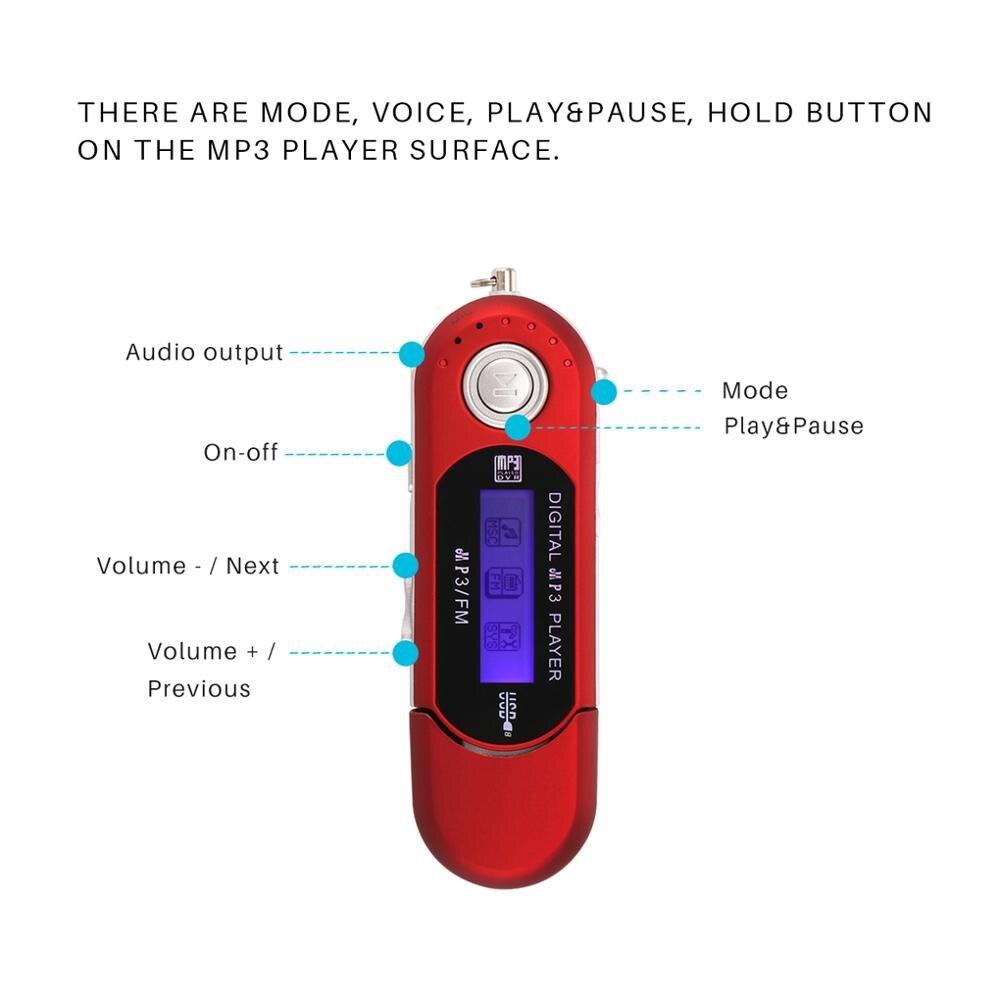 USB MP3 музыкальный плеер цифровой ЖК-экран Поддержка 32 Гб TF карта и fm-радио с микрофоном черный красный MP3 плеер