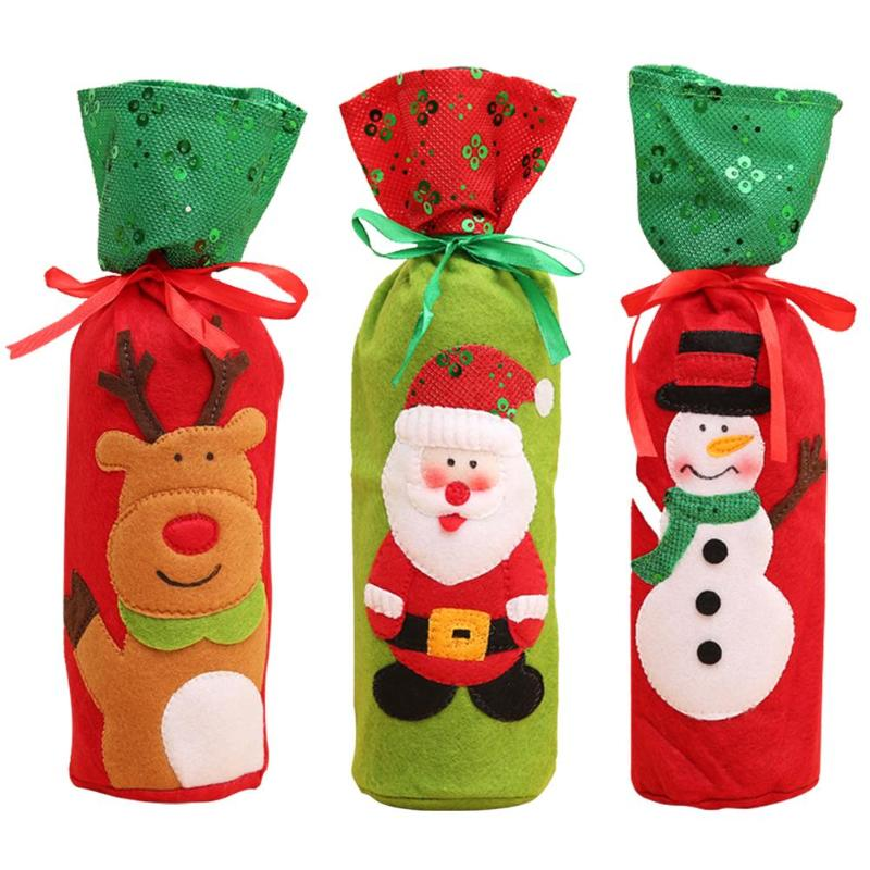 Christmas Santa Claus Snowman Wine Bottle Cover Creative Home Holiday Party Decoration Necessary Household Festival Gadgets
