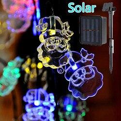 20 LED พลังงานแสงอาทิตย์ Santa Claus String ไฟกันน้ำ Garden Decor โคมไฟพลังงานแสงอาทิตย์กลางแจ้ง Patio ไฟ