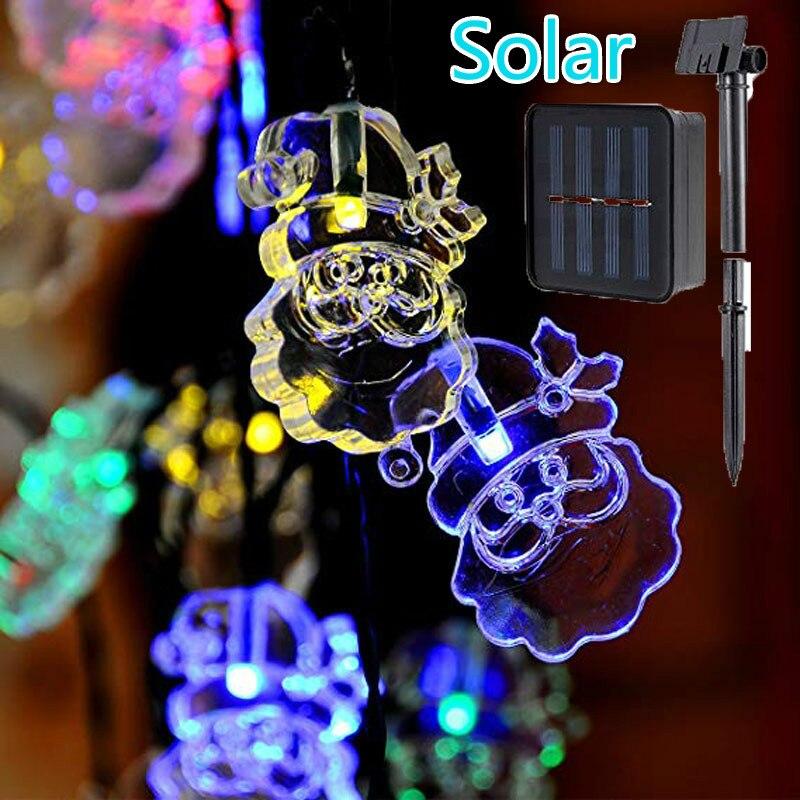 20 LED Solar Santa Claus String Lights Waterproof Garden Decor Lamp Solar Christmas Lights Outdoor Patio Lights