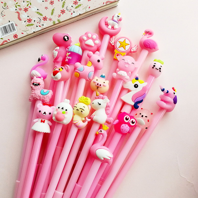 Multiple Style Cartoon Animal Doll Unicorn Flamingo Dinosaur Rabbit Bear Gel Pen Cute Kawaii For Girl Kid Gift School Stationery