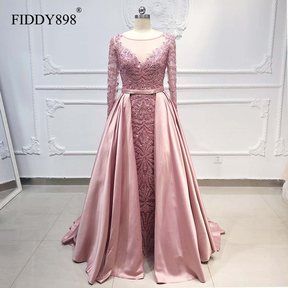 Luxury Evening Dresses Long Sleeve Scoop Mermaid Evening Gown Fully Beaded Party Dress Dusty Pink Prom Dress Rode De Soiree