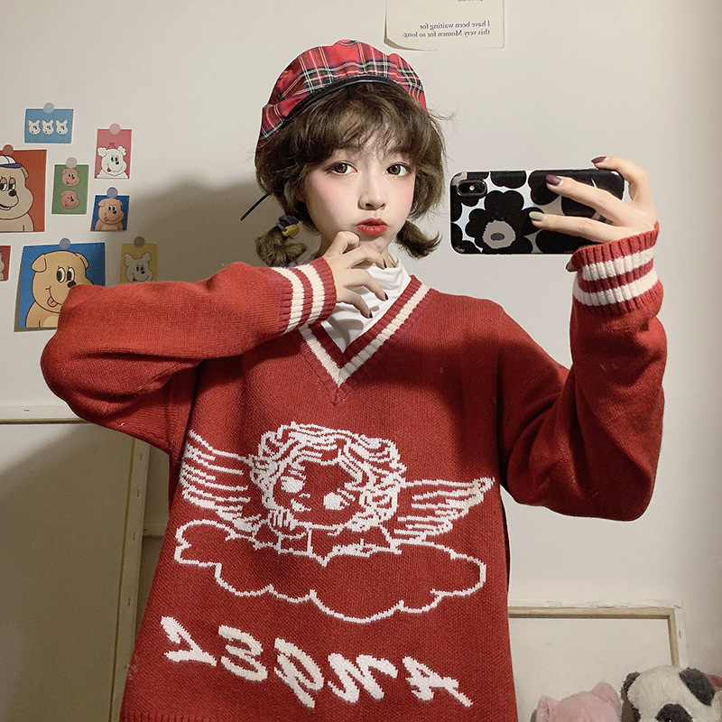 Three Standard Qi! Origional Self-Made! Little Angel Sweater Sweater + Base Shirt