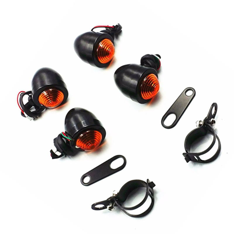 Motor Amber Turn Signal LED Light Rear Shock Bracket Relocater Holder Cruiser