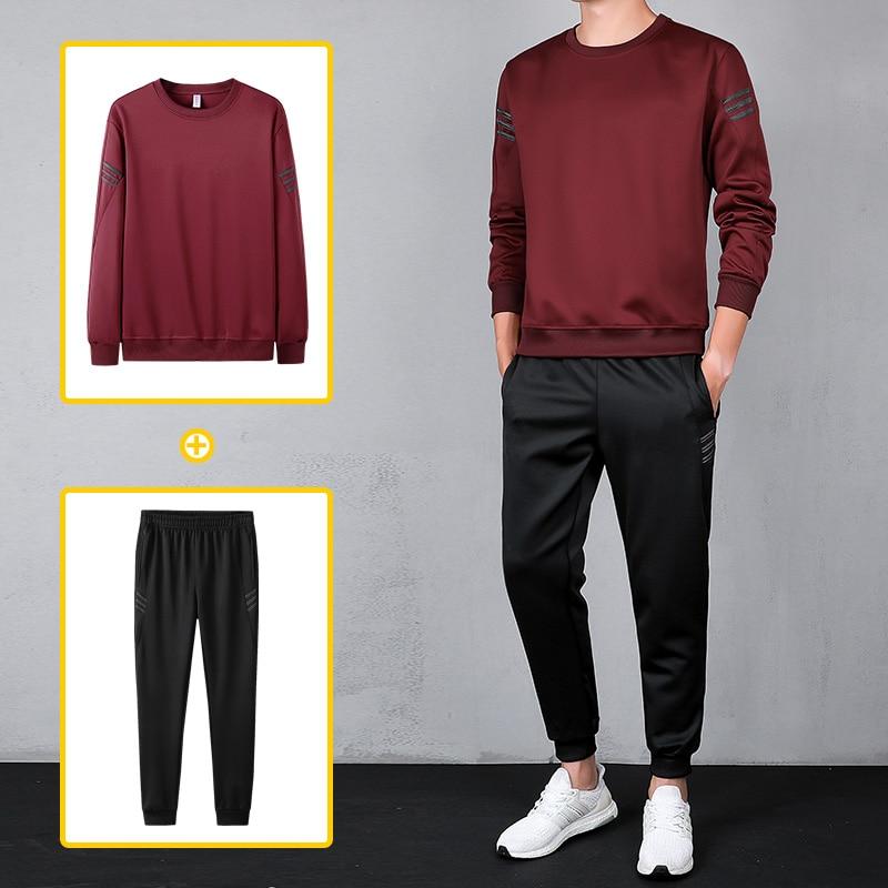 Causal Sportwear Tracksuit Men 2019 Spring Causal Mens Tracksuit Men Gym Straight 2 Piece Jogger Set Long Sleeve Male Dress