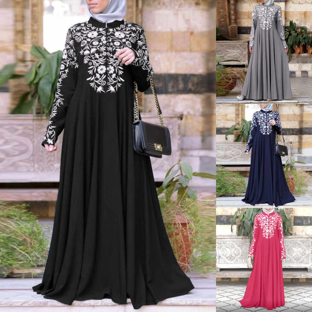 Bohemian Plus Size Maxi Dress Women Floral Print Muslim Dress Kaftan Arab Jilbab Abaya Islamic Lace Stitching Maxi Dress #B