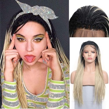 AIMEYA Synthetic Dark Roots Ombre Blonde Wig Box Braids With Baby Hair Lace Front Wigs For Black Women Long Braided