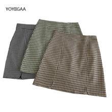 Летняя женская клетчатая облегающая мини юбка с Боковым Разрезом