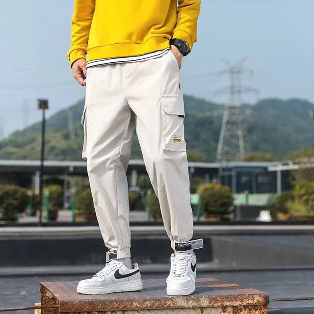 Hip Hop Men Streetwear Military Pants Patchwork Pocket Side Striped Joggers Sweatpants Cuffed Ankle Length Trousers For Male 41