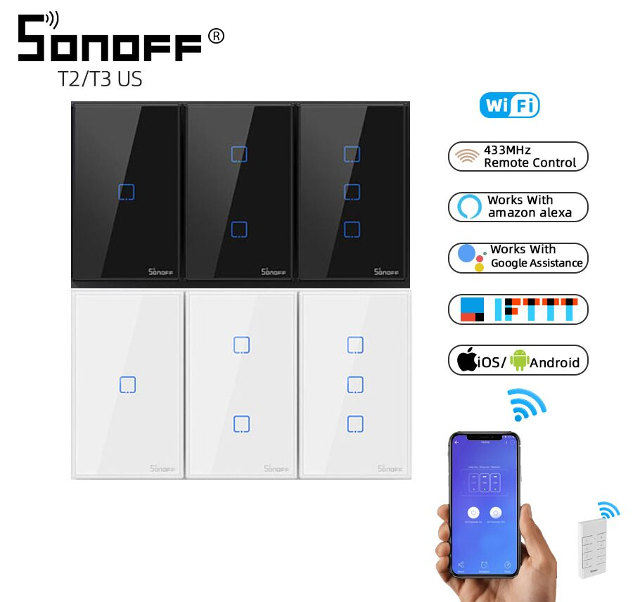 SONOFF TX T2/T3 US Black 1/2/3 Gang RF 433Mhz Remote Control Wireless Wifi Touch Wall Light Switch Smart Panel Google Home Alexa