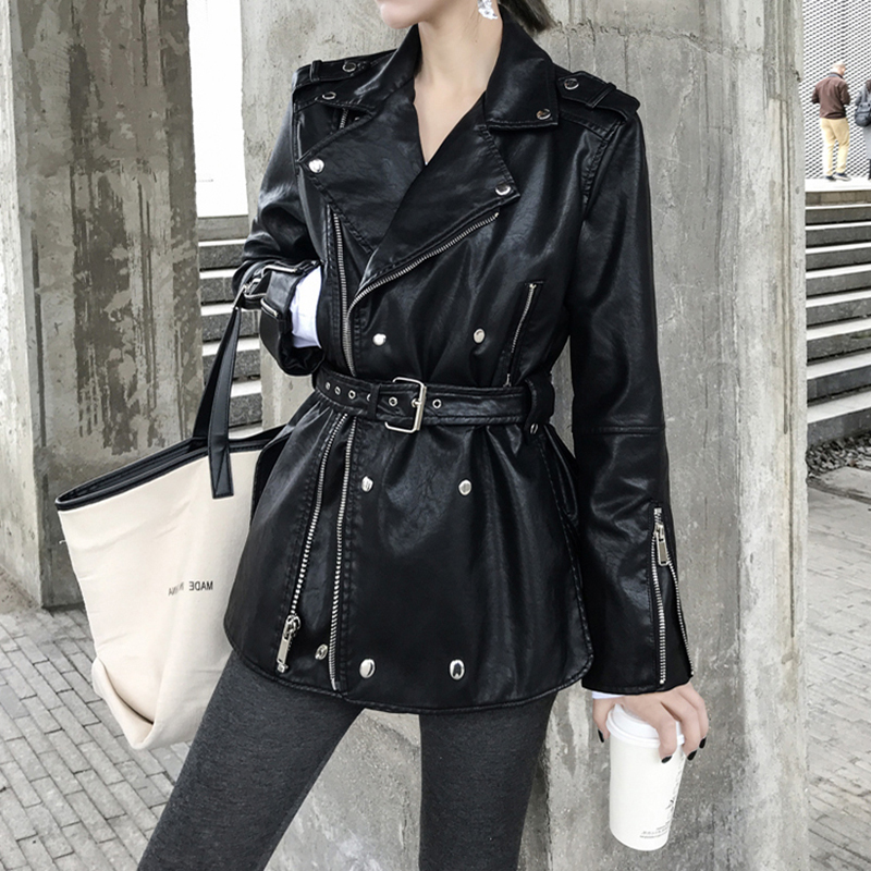 [EAM] Loose Fit Black Pu Leather Bandage Split ZipperJacket New Lapel Long Sleeve Women Coat Fashion Tide Spring 2020 1S708 6
