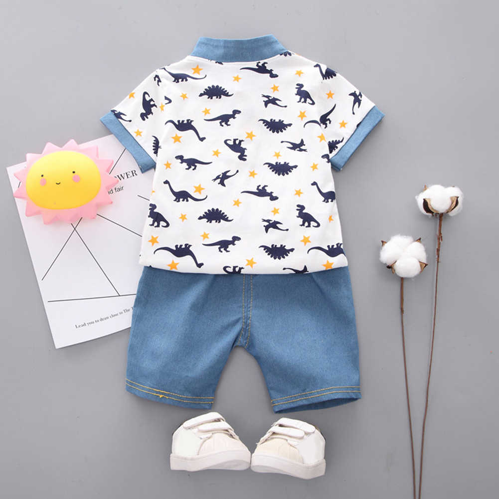 Kids Jongens Dinosaurus Print Korte Mouw T-Shirt Top Denim Shorts Zomer Outfit
