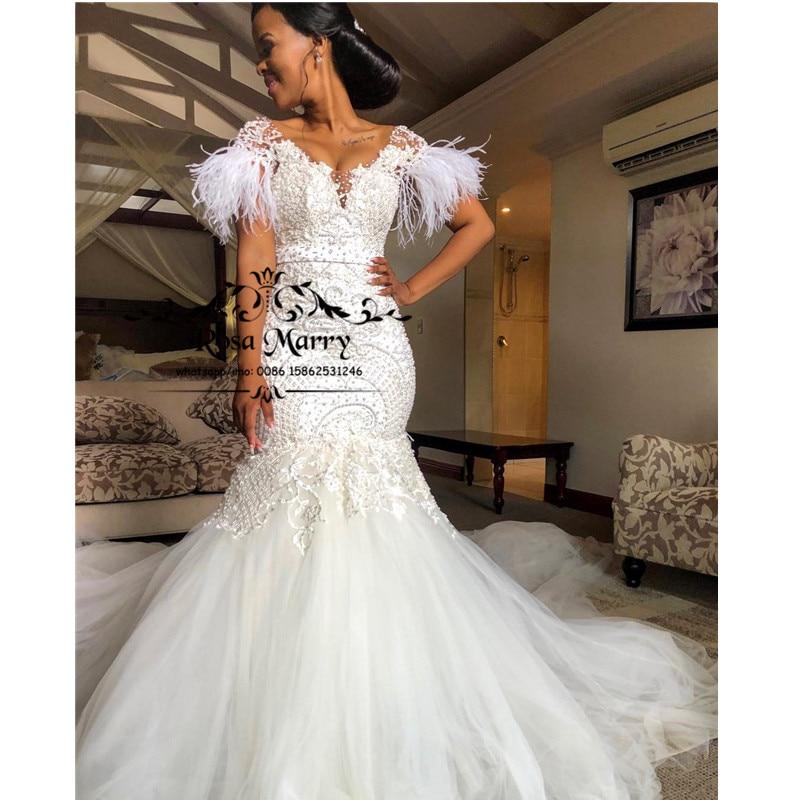 Sexy Vintage Lace Mermaid Bellanaija Wedding Dresses 2020 Plus Size Feather Beaded Sequined Chapel Train Arabic Vestido De Novia