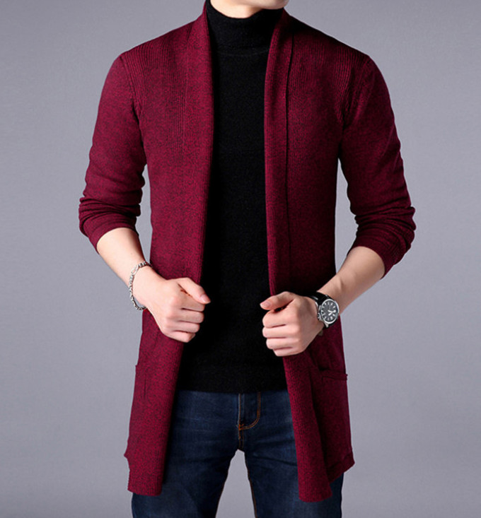 Sweater coats new men fashion spring autumn men slim long solid color knitted jacket men casual sweater Cardigan coats