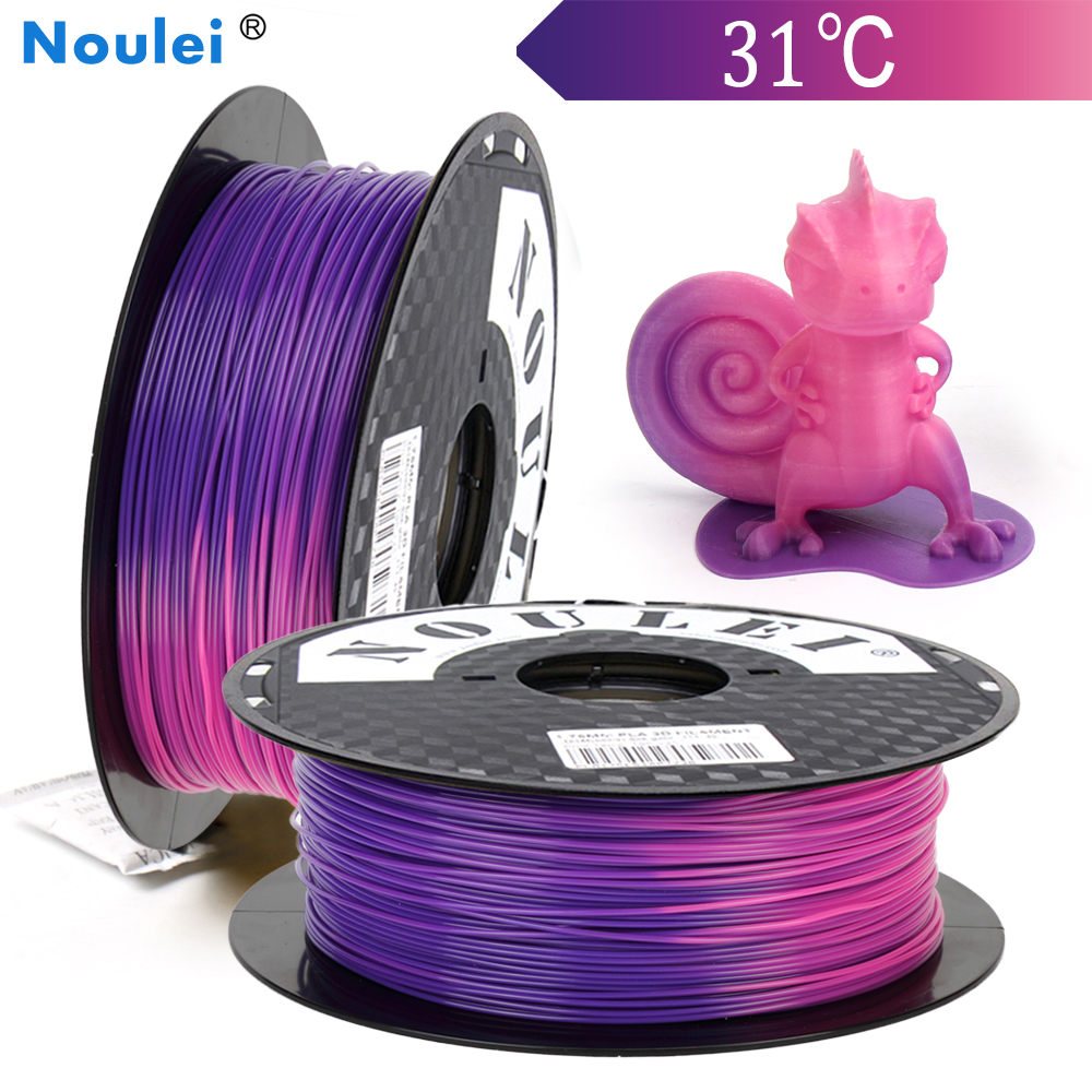 Noulei 3D Printer Filament PLA 1.75mm 1kg Temperature Color Change Plastic Temperature Changing Material