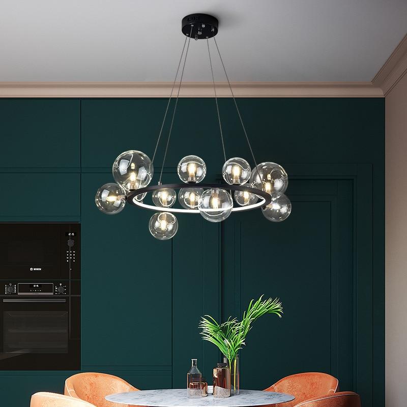 Современный из прозрачного стекла люстры для гостиной, фойе, ресторана, Подвесная лампа, светильник ветительные приборы для спальни, серебр...