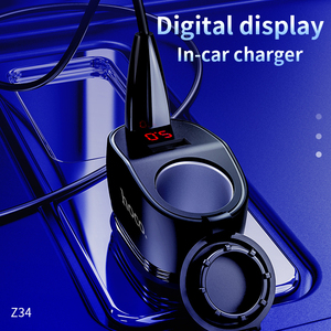 Image 2 - HOCO المزدوج USB شاحن سيارة ولاعة السجائر فتحة مع LED عرض 96 واط 3.1A سريع شاحن سيارة مهايئ شاحن آيفون 11 برو