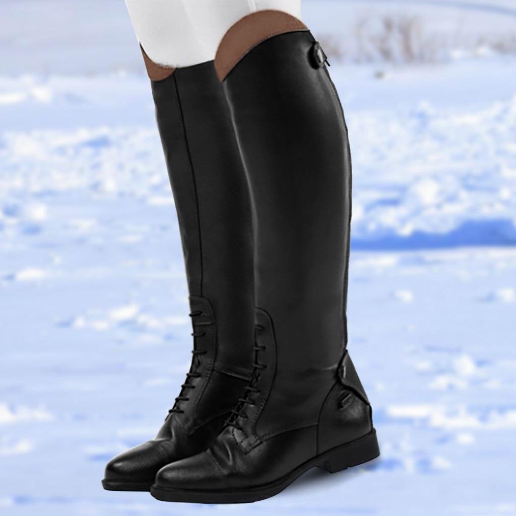 Сапоги SAGACE женские уличные на среднем каблуке, повседневные теплые ботинки в стиле панк, ретро, без застежки, обувь для верховой езды, высоки...