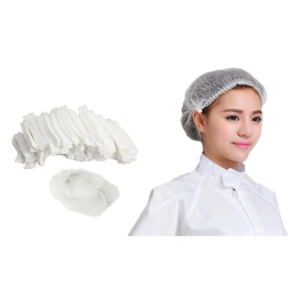 100PCS Disposable Hair Net Bouffant Cap Non Woven Stretch Dust Cap Head Cover ❤