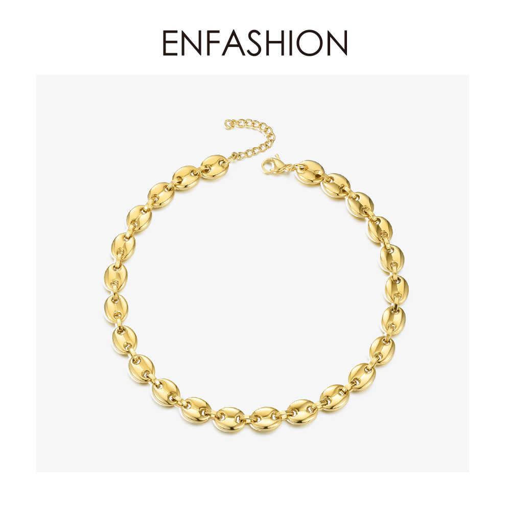 ENFASHION Punk ziarna kawy Link choker łańcuszek naszyjnik kobiety ze stali nierdzewnej złoty kolor Hip Hop Rock naszyjniki mężczyzn biżuteria P3022