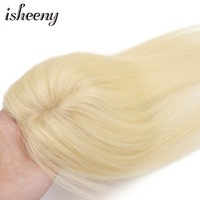 10 14 Blonde Human Hair Top Wig For Women 7*10cm Mono & PU Base Salon Clip In Human Topper Hair 30g Thin Hair Piece 613#