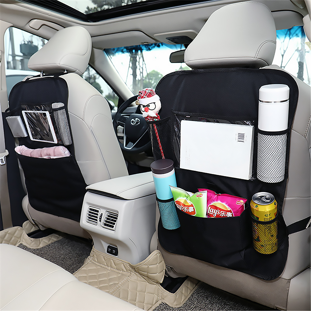 Car Seat Storage Bag Backseat Organiser Screen Tablet Holder Auto Organizer Kick Mats