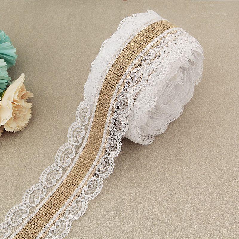 2 м/кружево в рулоне, джутовая натуральная лента из мешковины с белым кружевом, Деревенское украшение для свадебной вечеринки, украшение для...