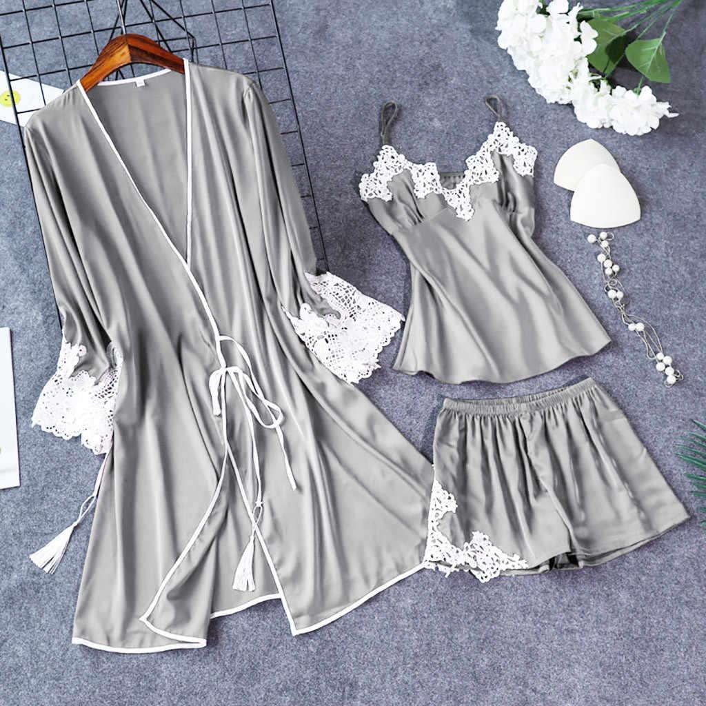 Lingerie Women Silk Lace Robe Dress Babydoll Sleepwear Nightdress Pajamas Set