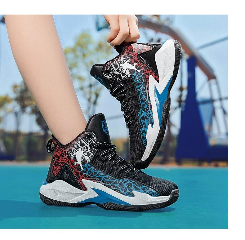 hook & loop crianças tênis de basquete