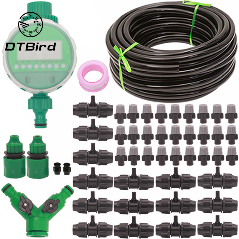 1Set 9/12 Tube Garden Spray Irrigation Set Atomizing Spray Lazy Automatic Watering Device Timing Controller With High Quality