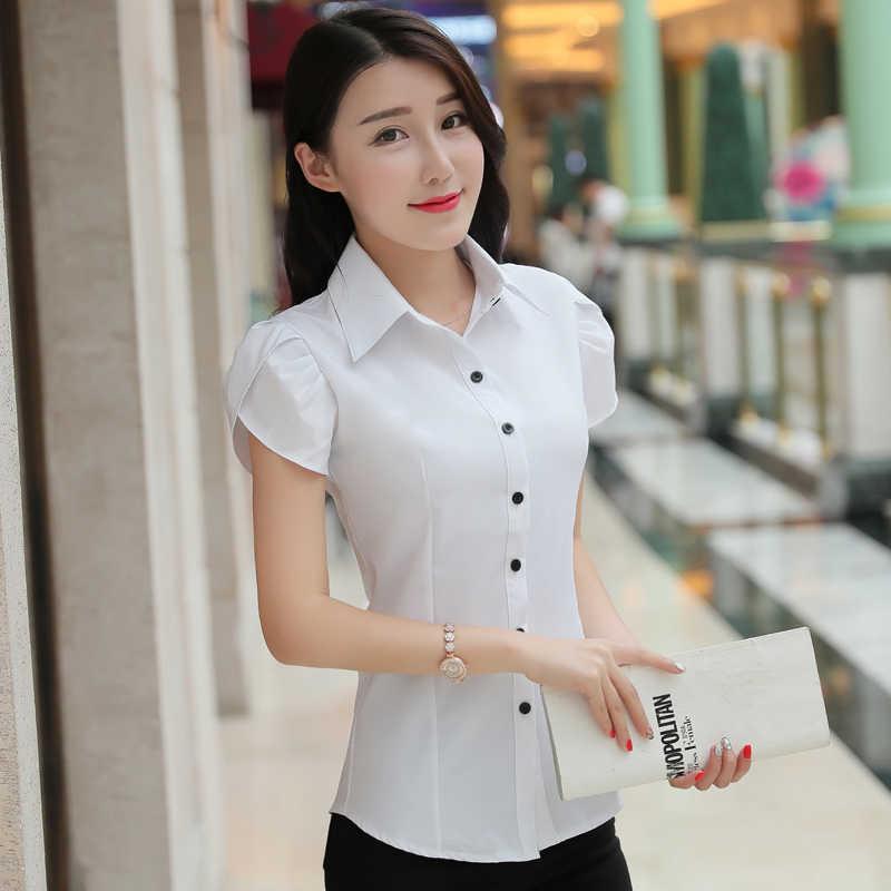 ビッグサイズ 5XL 新韓国女性女性ターンダウン襟クール半袖トップス夏オフィス OL 女性のエレガントなシャツ