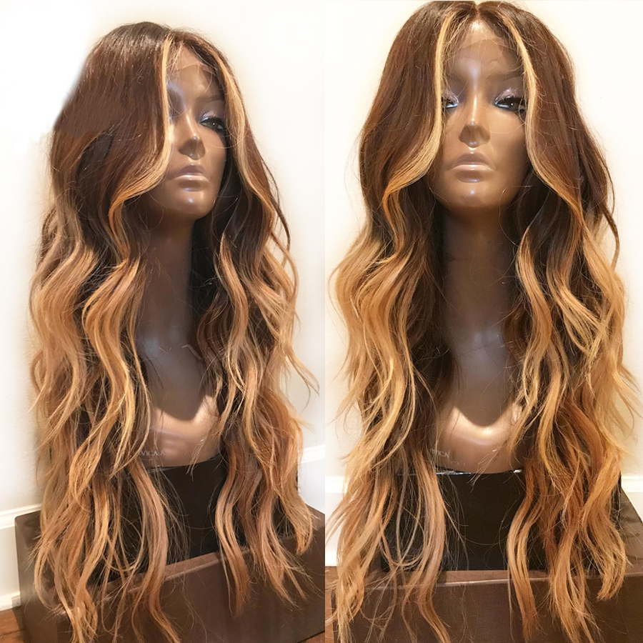Eversilky 13X4 Lace Front Hair Wigs With Baby Hair Highlight Blonde Brown Color Body Wave Human Hair Brazilian Remy Hair