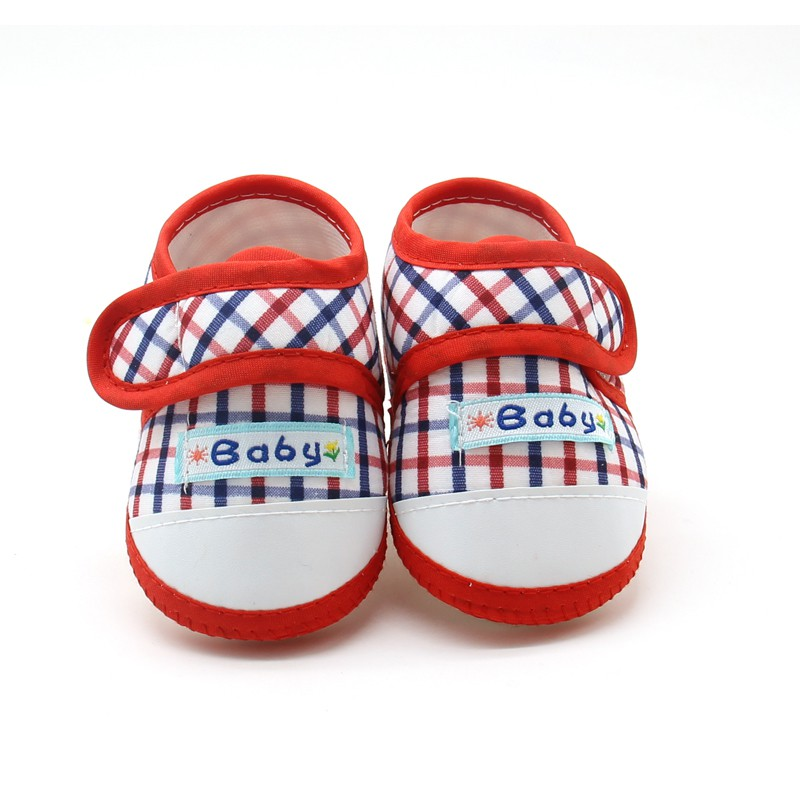 New Hot Baby Boys Girls Shoes Cotton Plaid First Walkers Toddler Prewalker Soft Sole Booties