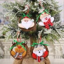 Christmas decorations small rattan ring Santa Claus elk snowman hanging doll garland ornaments christmas