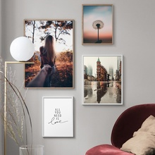 Nordic City Plant Girl Quotes Wall Art Canvas Painting Posters And Prints Landscape Pictures For Living Room Decor