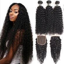Czarna perła perwersyjne kręcone 3 zestawy z zamknięciem Remy ludzkie włosy wyplata rozszerzenia brazylijskie kręcone włosy wiązki z zamknięciem