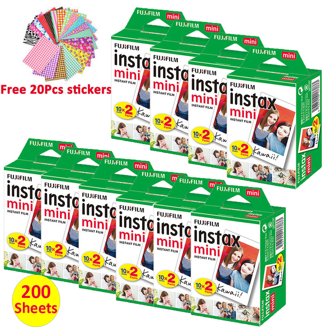 200 Sheets Fujifilm Instax Mini Film White Instant Photo Paper For Fuji Mini 7s 8 9 11 25 50s 70 90 Liplay Camera LINK Printer