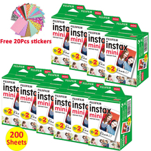 200 folhas fujifilm instax mini filme branco, papel de foto instantâneo para fuji mini 7s 8 9 11 25 50 impressora liplay câmera s 70 90