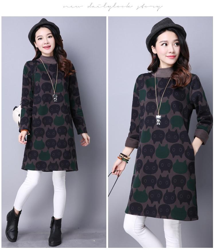 P Ammy Warm Fleece Lining Plus Size Cats Sweatshirt Dress Women Winter Thicken Long Sleeved Turtleneck Loose Casual Tunic Dress