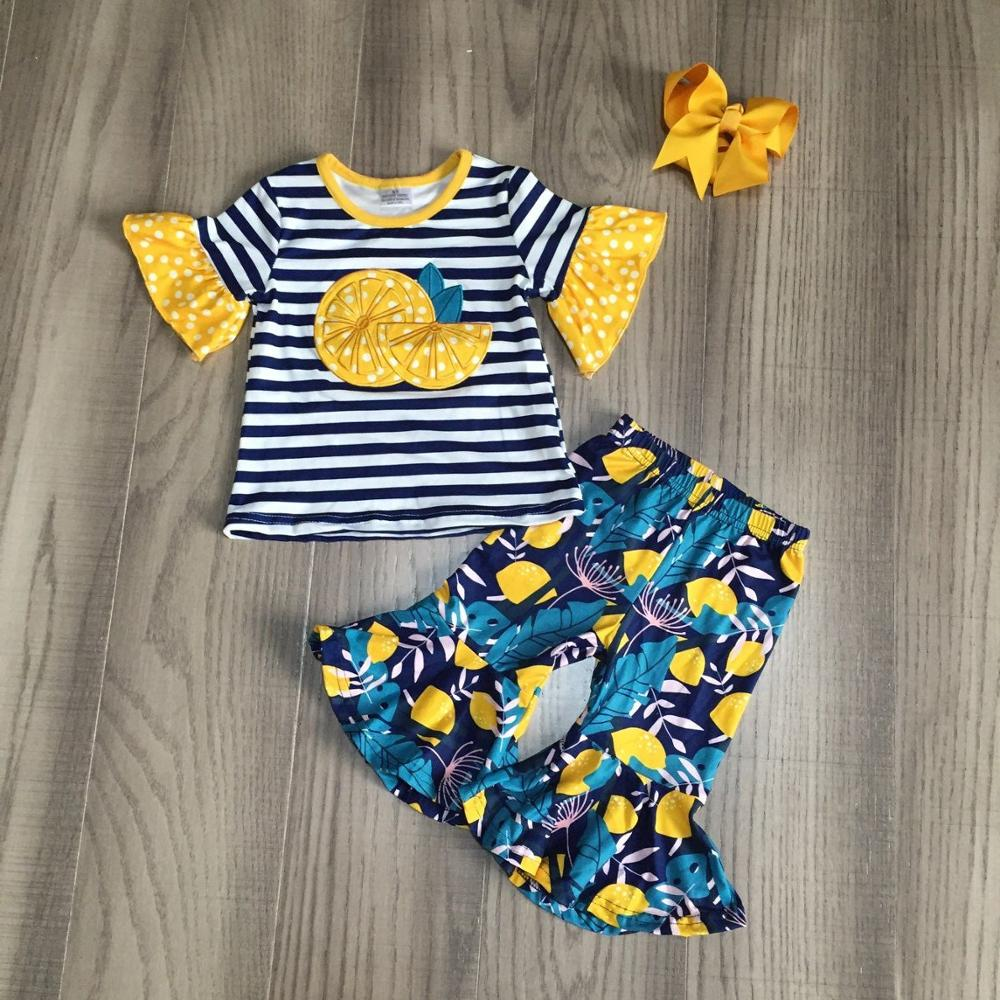 Baby Girls Summer Outfits Lemon Shirt With Floral Bell Bottom Capri Pant Girls Outfits With Bow