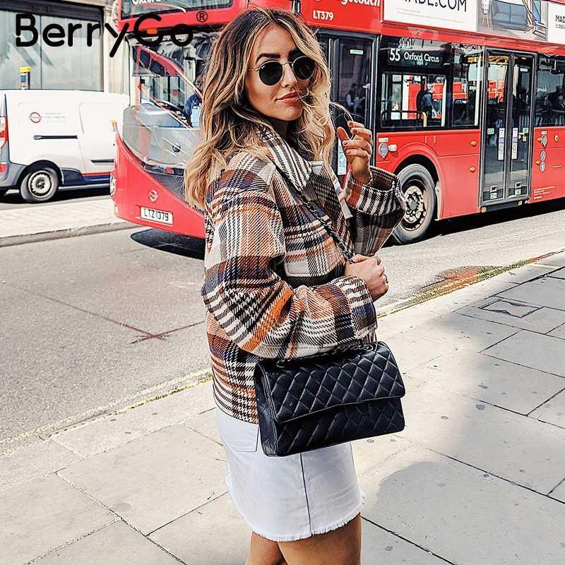 BerryGo simple boutonnage femmes plaid veste manteau à manches longues Streetwear surdimensionné dames manteau décontracté vêtements d'extérieur automne femme manteau