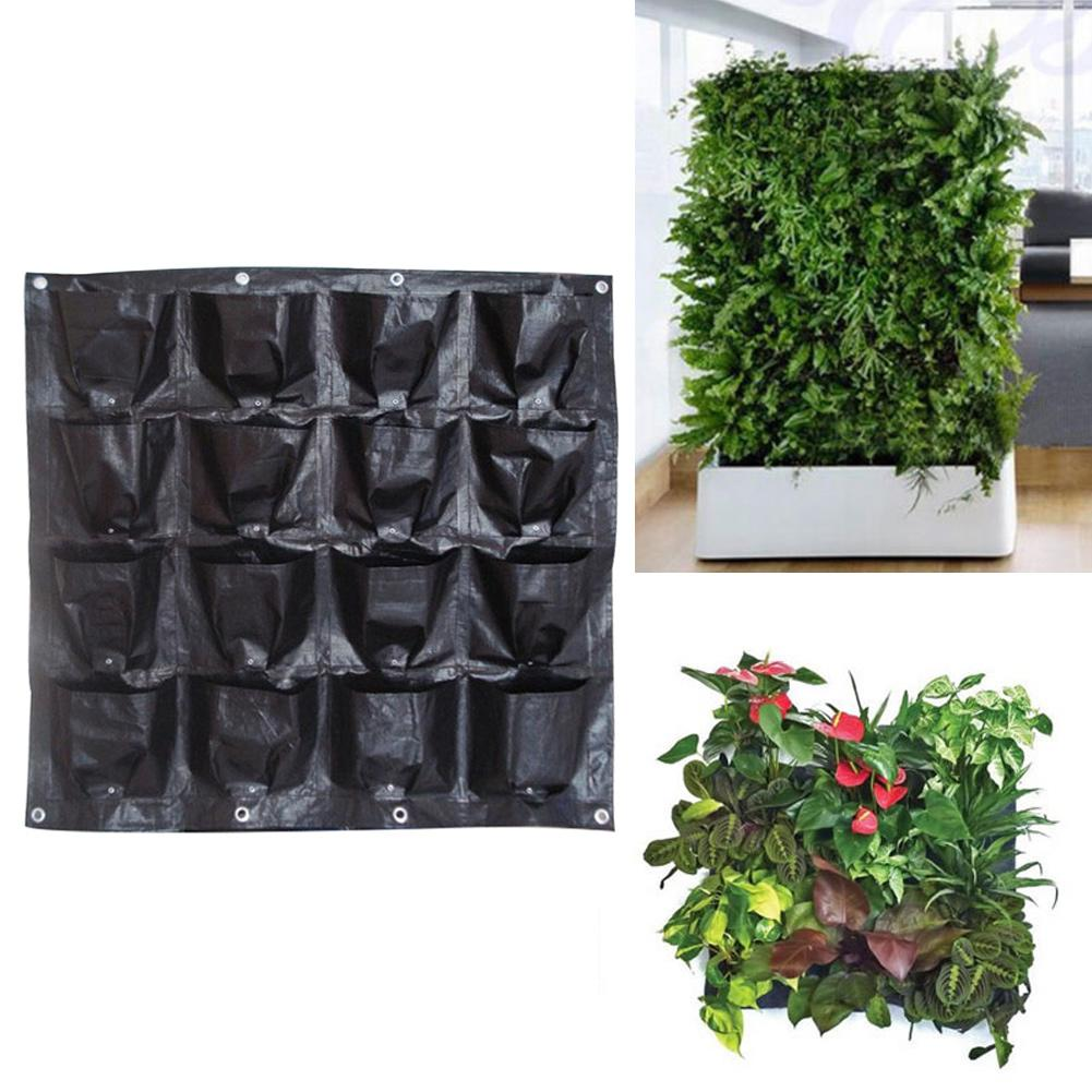 Black Color Wall Hanging Planting Bags 16 Pockets Grow Bag Planter Vertical Garden Vegetable Living Garden Bag 98*98CM