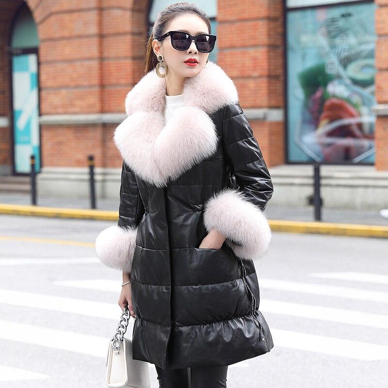 2020 New Winter Leather Down Jacket Women Fox Fur Collar 100% Sheepskin Coat Korean Women's Leather Jackets MF7209