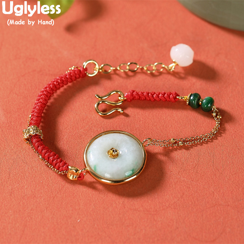 Uglyless 2020 bonne chance rouge corde Bracelets pour femme réel 925 argent Multi chaînes Bracelets Nature émeraude boutons mode bijou