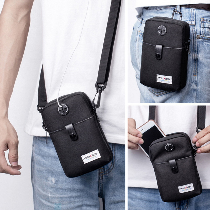 Fashion Men Messenger Bag Phone Pocket Crossbody Bag For Men Shoulder Handbag Multifunctional Male Small Flap Black(China)