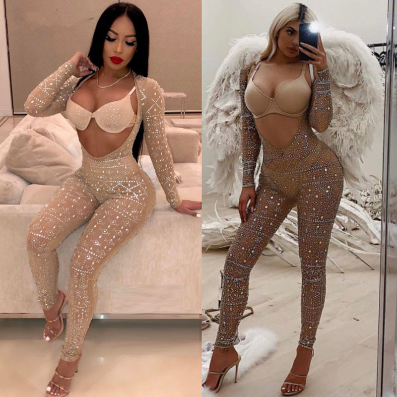 Sexy Fashion Cut Out Rhinestone Studded Embellished Mesh Jumpsuit Glitter Crystal  Jumpsuit Romper Party Trend Outfits