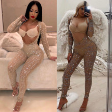 цена на Sexy Fashion Cut Out Rhinestone Studded Embellished Mesh Jumpsuit Glitter Crystal  Jumpsuit Romper Party Trend Outfits