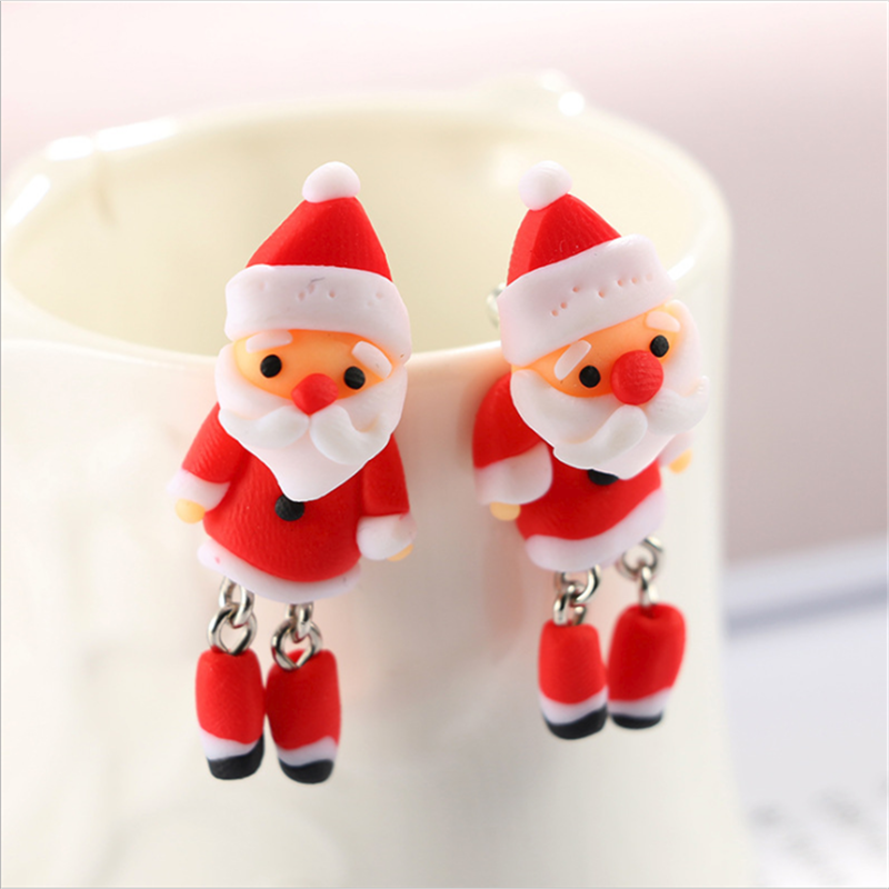 925 Sterling Silver Father Christmas Santa Christmas Tree Star Stud Earrings