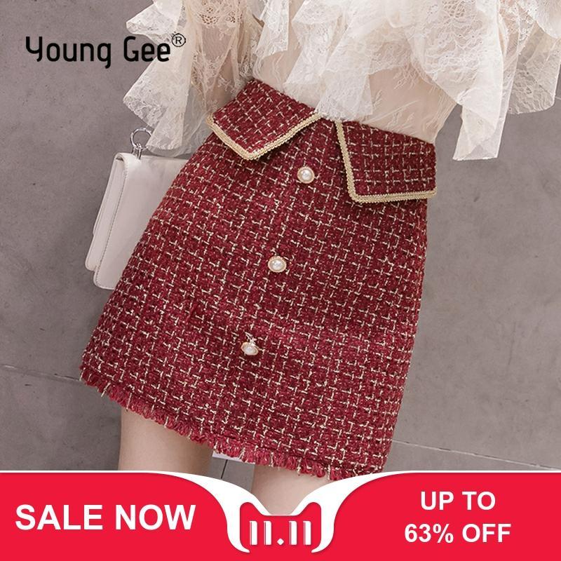 Young Gee Black Burgundy Beige Tweed Skirt Autumn Winter Women Elegant Plaid Jupe Femme Cute Bottoms A-Line Short Mini Skirts